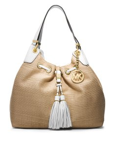 Michael Kors Straw Camden Tote in Natural White