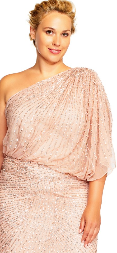 Adrianna Papell Blush One Shoulder Beaded Blouson Gown Plus Long ...