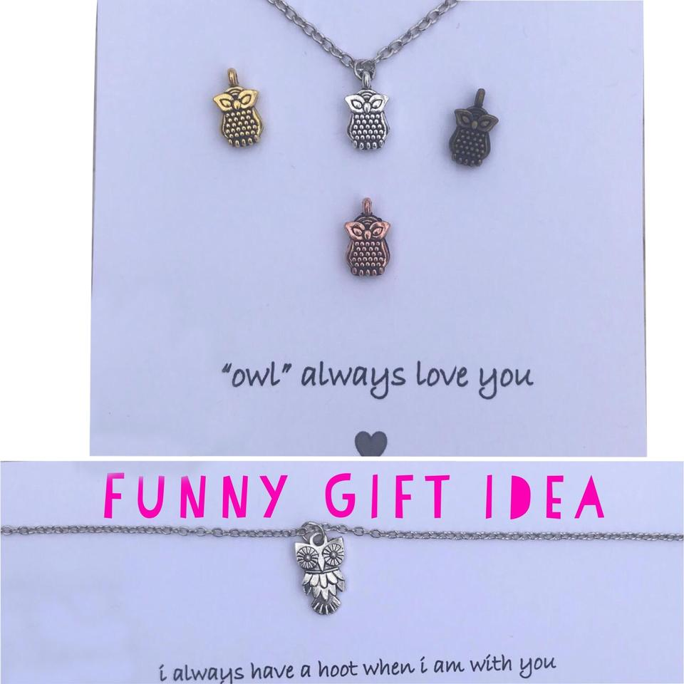 Gold Silver Brass Copper Funny Best Friend Gift Owl Birthday For Necklace
