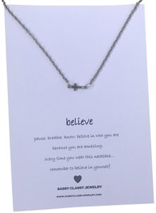 Sassy Classy Jewelry Believe Message Cross Necklace Gift for Best Friend Birthday Gift