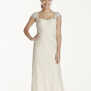 Melissa Sweet Ivory Lace Satin New with Tags Modern Wedding Dress Size 4 (S)