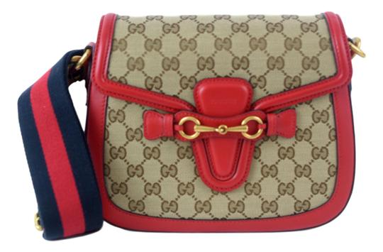 8eed0cd1ace1 Gucci Lady Web 383848 Brown Red Blue Gg Monogram Canvas Shoulder Bag ...