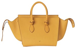 Céline Red Leather Knot Tote in Yellow