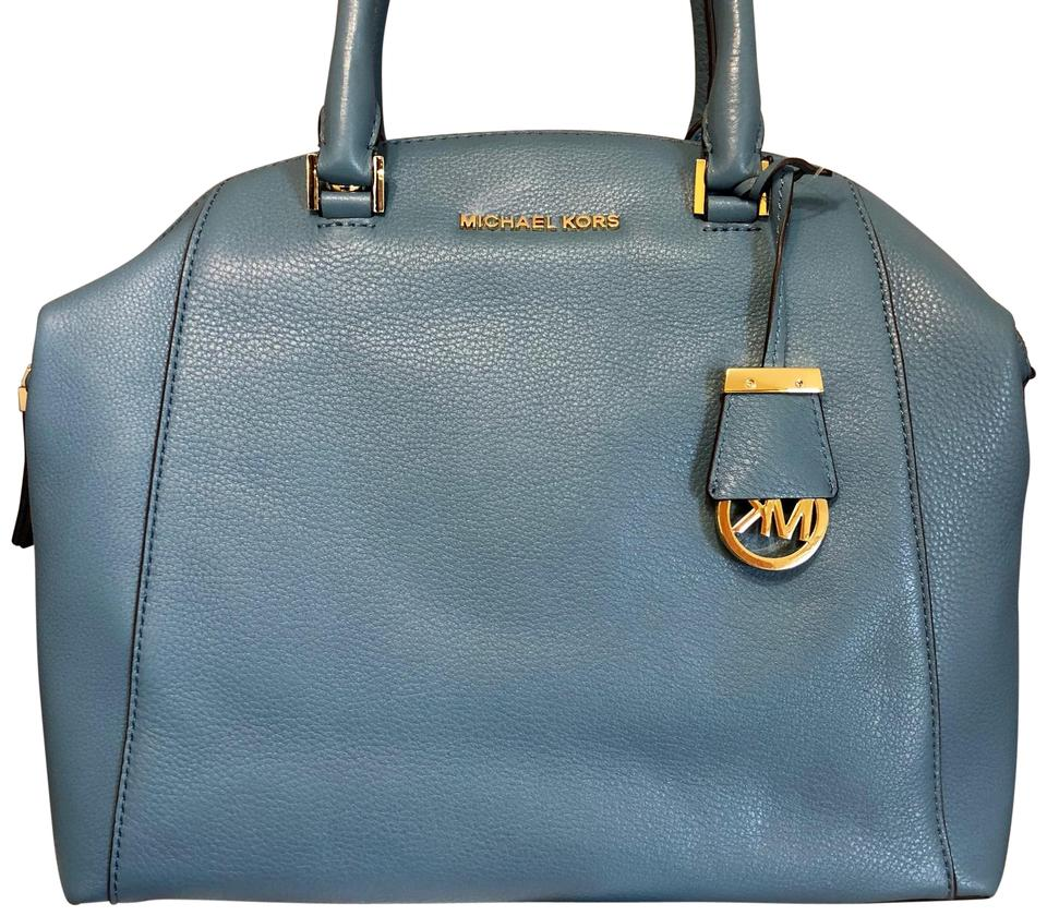 6873e3897520 MICHAEL Michael Kors Riley Pebble Leather Large Satchel in CORNFLOWER BLUE  Image 0 ...