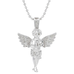 Jewelry For Less Diamond Angel Pendant .925 Sterling Silver w/2mm Moon-Cut Chain .25 Ct