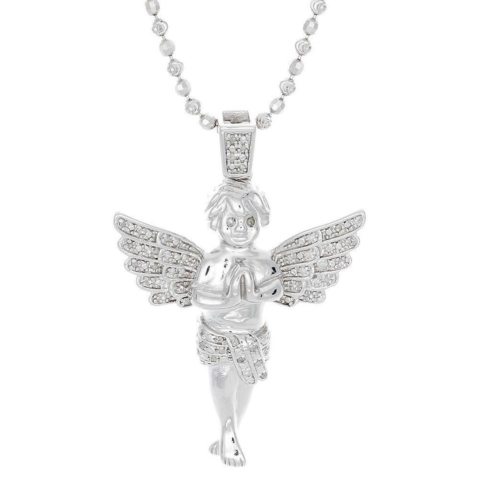 Jewelry for less silver diamond angel pendant 925 sterling w2mm jewelry for less diamond angel pendant 925 sterling silver w2mm moon cut aloadofball Images