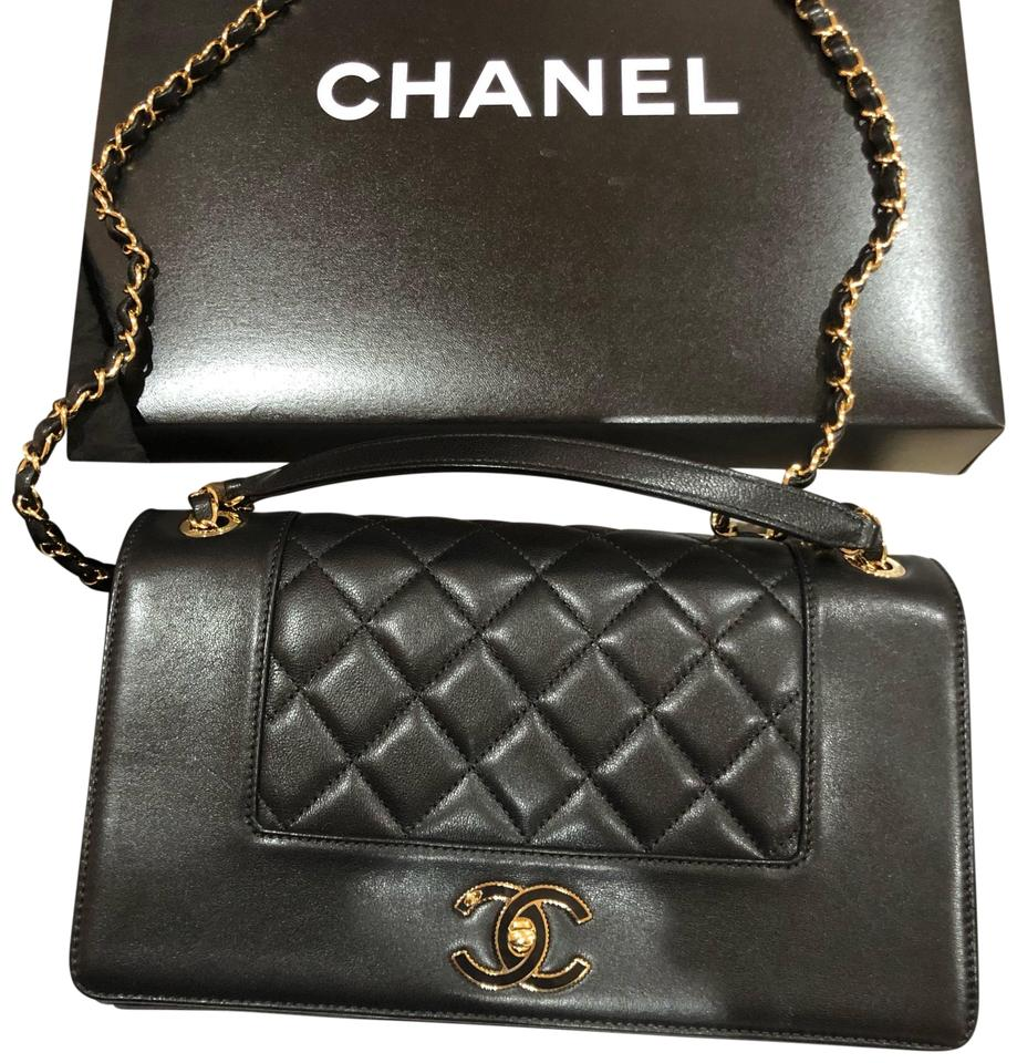 ed5de554e80bd1 Chanel Mademoiselle Classic Flap Vintage Winter 2015 Black Grained ...