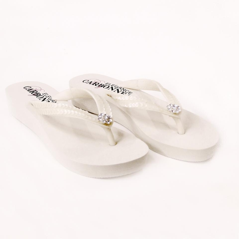 b118c1f3b3f7 Elegance by Carbonneau Ivory Bridal Flip Flops with Sequins   Swarovski Crystals  Sandals. Size  US 5 Regular ...
