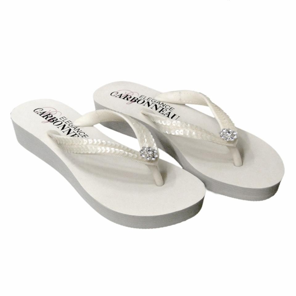 5ce59b0dd22e Elegance by Carbonneau Ivory Bridal Flip Flops with Sequins   Swarovski Crystals  Sandals Size US 5. 123