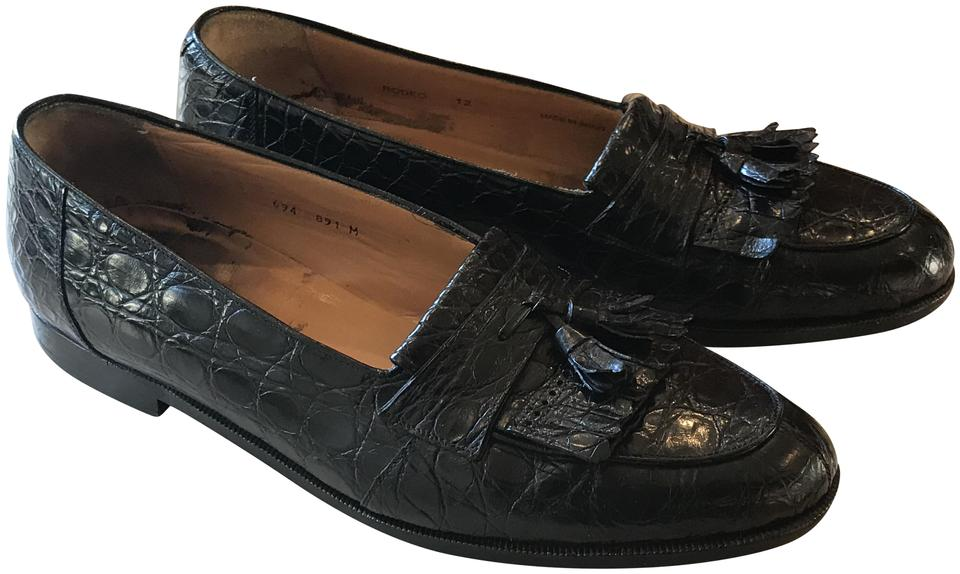 bb7fc25f9e9 Black Crocodile Handcrafted Mens Loafers Formal Shoes Size US 12 ...