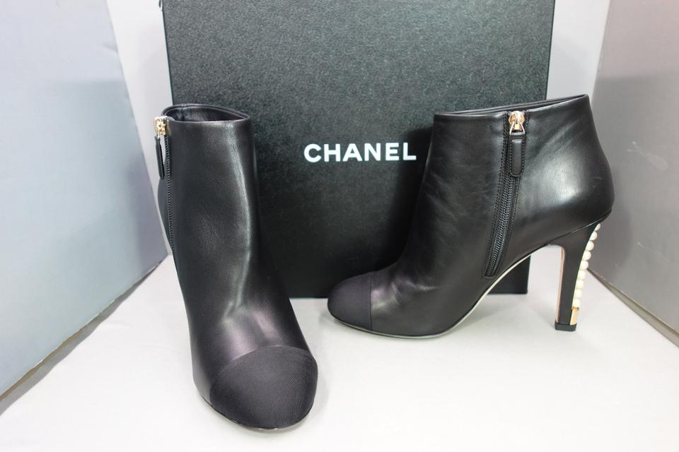 9ea871db Chanel Black Lambskin Leather Grosgrain Silk Cap Toe Pearl Heels Ankle  Boots/Booties Size EU 40 (Approx. US 10) Regular (M, B) 35% off retail