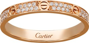 Cartier CARTIER LOVE PINK GOLD RING PAVE DIAMONDS B4218100 Size 54