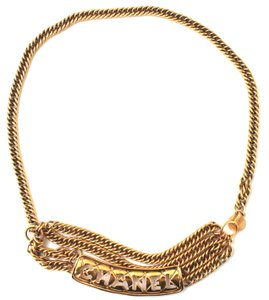 Chanel #16484 CC logo cutout multiple chain gold necklace belt two way