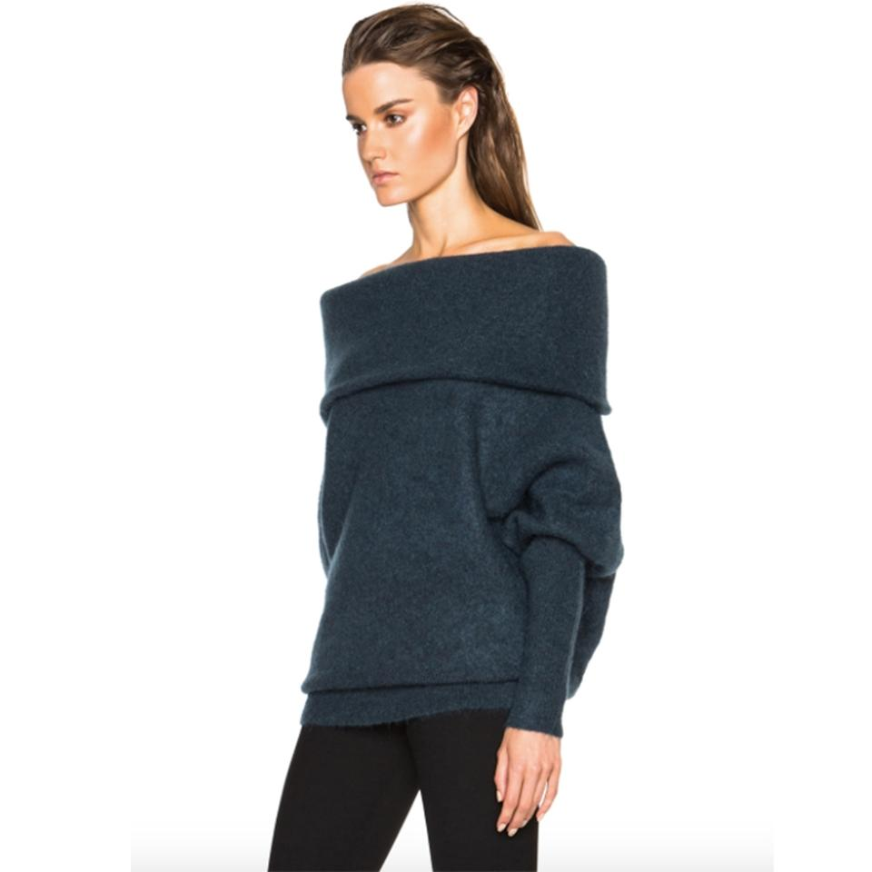 d638fa997e9b Acne Studios Daze Mohair Off The Shoulder Dusty Blue Sweater - Tradesy