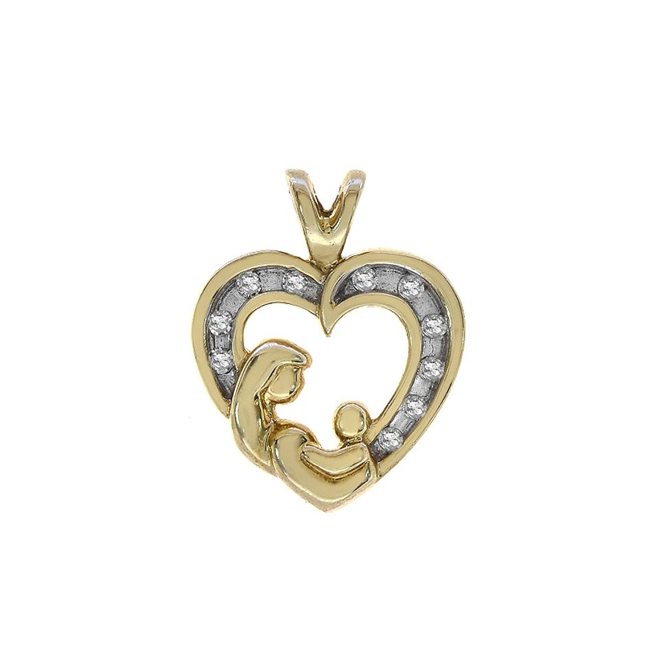 diamond pendant mother fmge product child heart silver sterling for necklace love