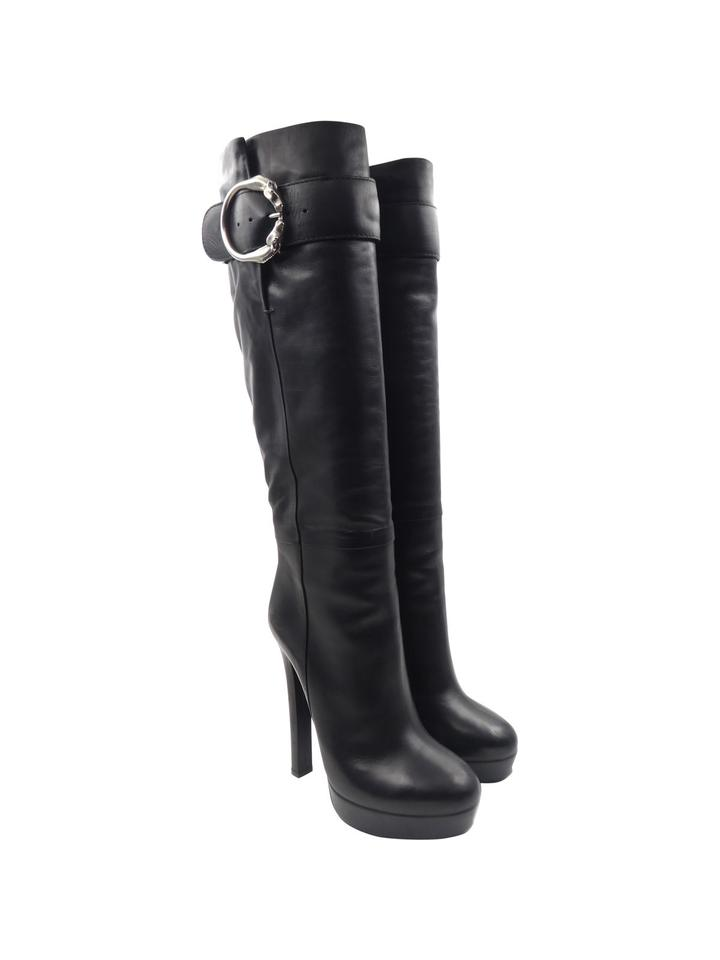 gucci black leather silver horse buckle 38 8 platform knee high