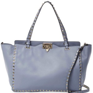 Valentino Rockstud Leather Trapeze Studded Tote in Blue