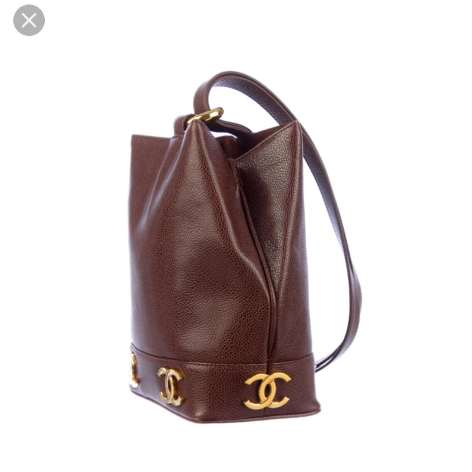 451a10a842ae Chanel Vintage Caviar Sling Brown Leather Shoulder Bag - Tradesy