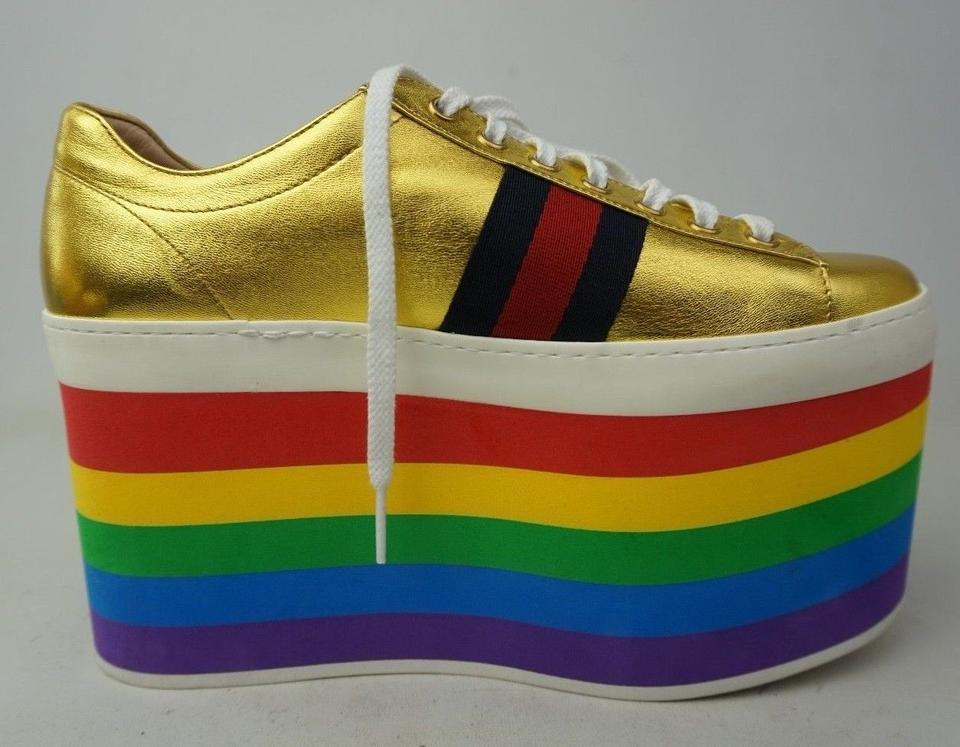 e1996c2c533 Gucci Metallic Gold Peggy Leather Sneaker Rainbow Platforms Size EU 37.5  (Approx. US 7.5) Regular (M