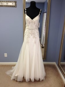 Maggie Sottero Light Gold Over Pearl with Pewter Accent Andraea Destination Wedding Dress Size 6 (S)