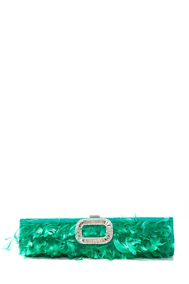 6f43176bc1 Roger Vivier Feather Embellished Green Satin Clutch - Tradesy