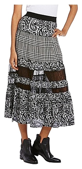 Michael Kors Lace Trim Midi A-line Skirt Black and White