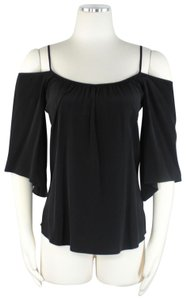 Madison Marcus Bohemian Off Shoulder Pleats Cocktail Lightweight Top Black