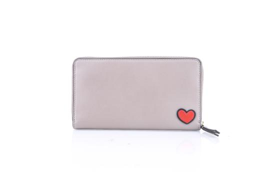 Tory Burch Tory Burch Peace Embellished Zip Continental Wallet French Gray