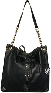 Michael Kors Studded Studs Large Silver Tote in Navy Blue Midnight