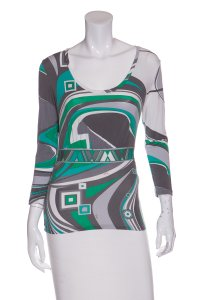 Emilio Pucci Top Grey & Green