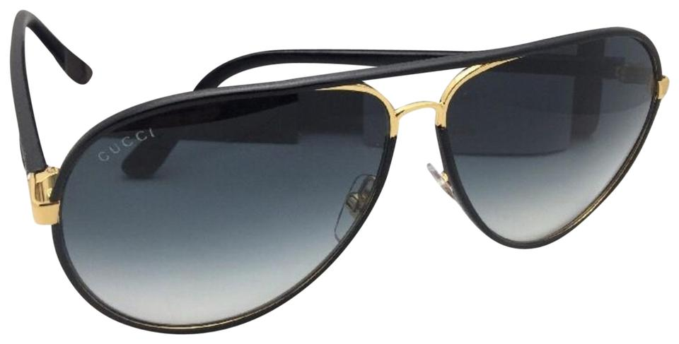 a174e5e50598b Gucci GUCCI Sunglasses GG 2887 S UZAJJ 61-11 Black Leather   Gold Aviator  ...