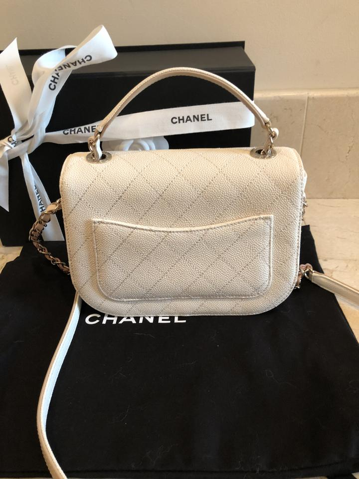 aa1fe1a27127 Chanel Flap Bag with Top Handle New 2018 Ivory White Calfskin Tote ...