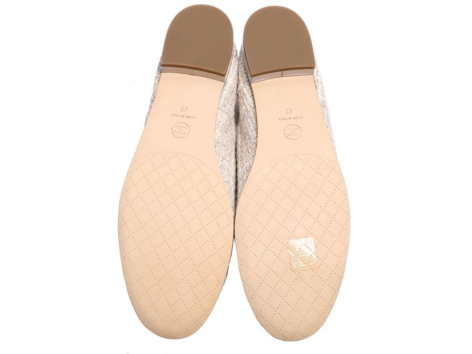 881dbbf6 Chanel Cream and Silver Lace Up Tweed Flats Size EU 42 (Approx. US 12)  Regular (M, B) 28% off retail
