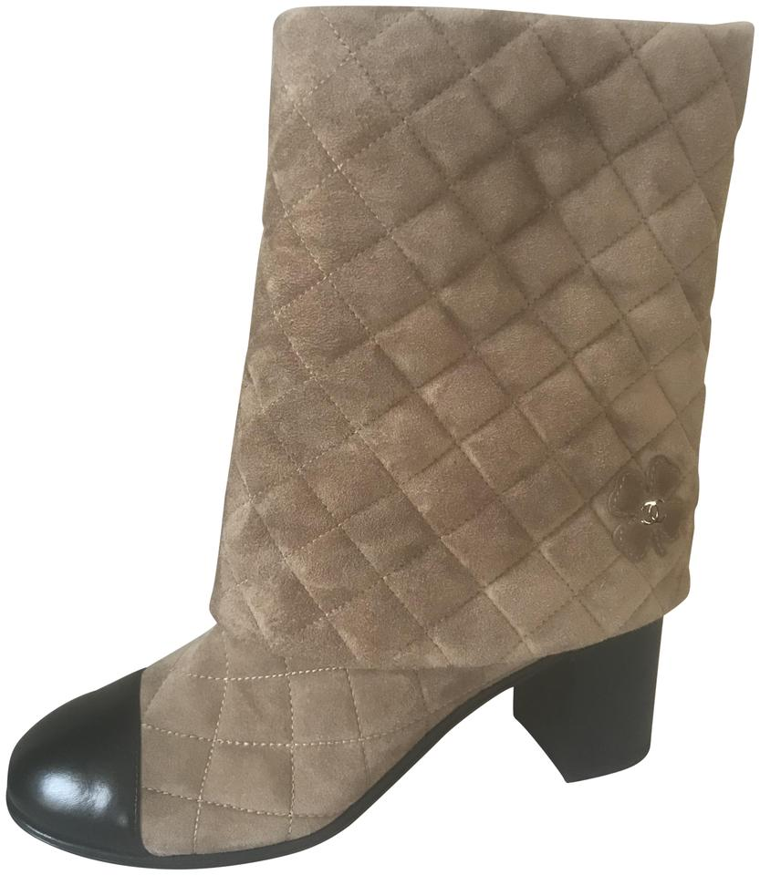 acf9ab8217d6 Chanel Beige Black 17b Quilted Suede Clover Heart Foldover Pant Midcalf  Boots Booties