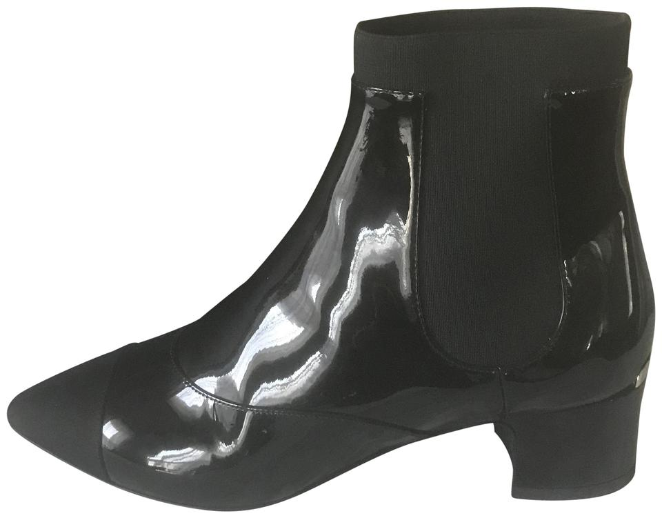 6b559f80113 Chanel Black 17b Patent Leather Stretch Ankle Heels Boots Booties ...