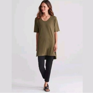 56333bc7f95 Eileen Fisher Olive Green Scoop Neck Short Sleeve Stretch Jersey Tunic