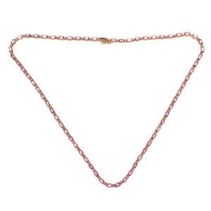 Luxo Jewelry 35 CT Pink Sapphire & 1.35 CT Diamonds in 14K Yellow Gold Necklace