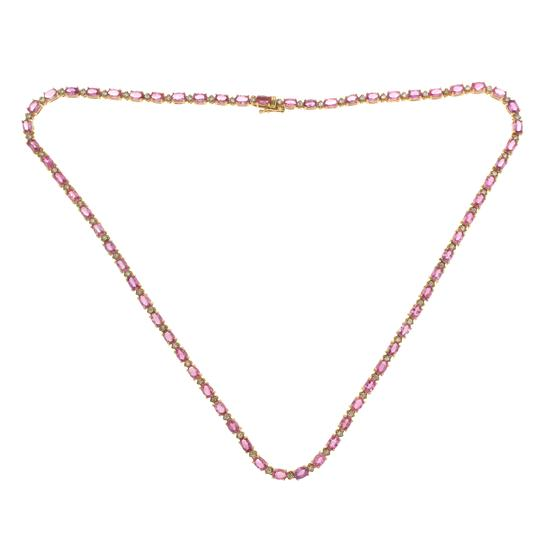 Preload https://img-static.tradesy.com/item/22799837/35-ct-pink-sapphire-and-135-ct-diamonds-in-14k-yellow-gold-necklace-0-0-540-540.jpg