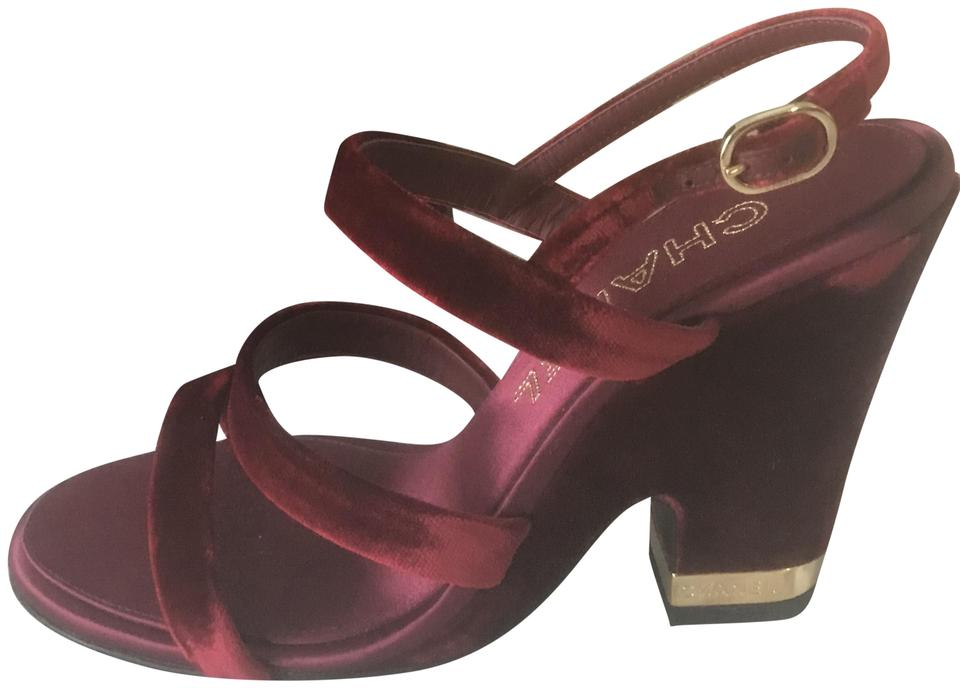 Chanel Burgundy 17a Velvet Strappy Ankle Strap Open Toe Wedge