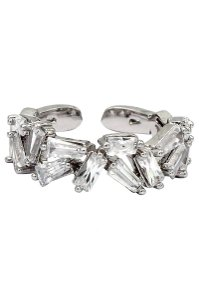 Ocean Fashion Small crystal tiles silver ring