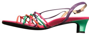 david tate Strappy Leather Buckle Open Toe Slingback multi Sandals