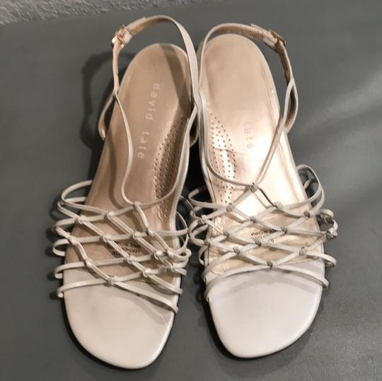 david tate Strappy Leather Slingback Open Toe Buckle pearl Sandals