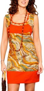 Lirome short dress Orange Multi Floral Retro Empire Waist Bohemian on Tradesy