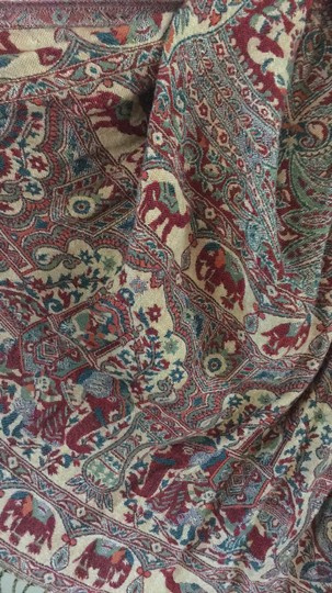 World Market Wine Red Paisley Jacquard Scarf w/ accents of Blue