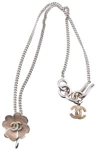 Chanel Chanel Pink Enamel Flower Silver CC Necklace