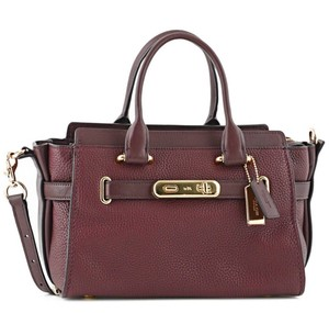 Coach Satchel in Light Gold/Oxblood