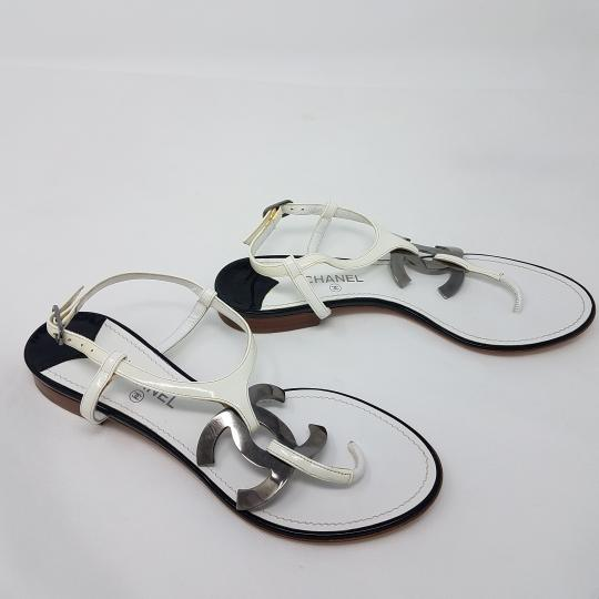 Chanel Ankle Strap Patent Leather Hardware Interlocking Cc Cc White, Silver Sandals