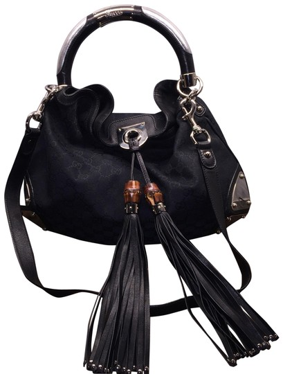 2e3744aa057d Gucci Indy Hobo Bamboo Tassel Fringe Amazing Condition Crossbody Black Gg  Canvas Shoulder Bag .
