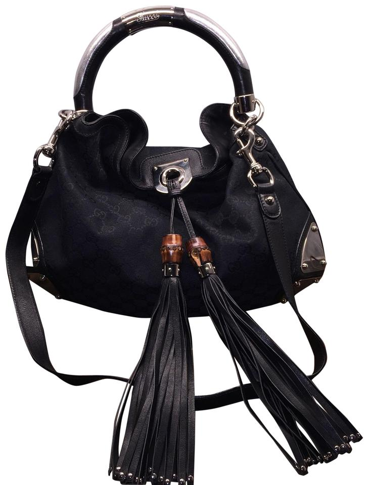 c7c9e6be6d91 Gucci Indy Hobo Bamboo Tassel Fringe Amazing Condition Crossbody Black  Canvas Shoulder Bag