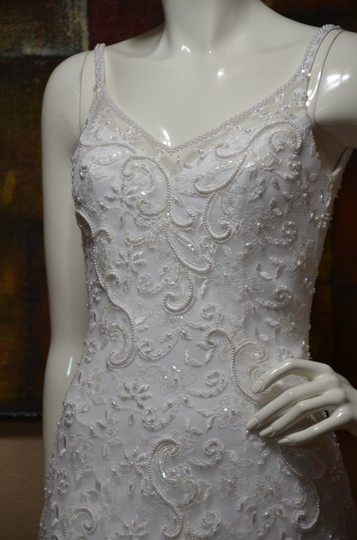 Oleg Cassini White Polyester - New Without Tags Vintage Wedding Dress Size 4 (S)